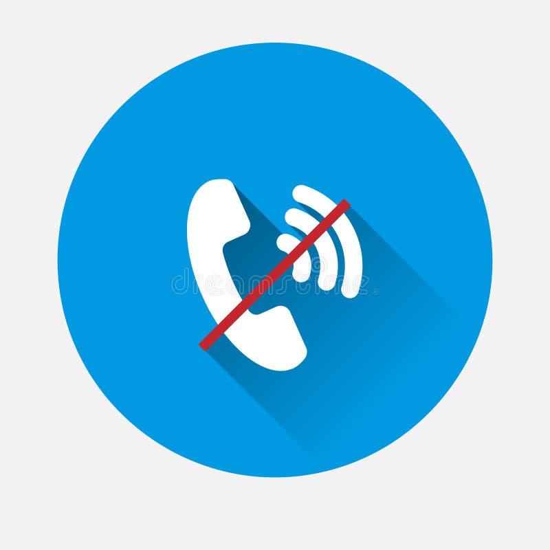 Вектор отсутствие значка телефонной трубки на голубой предпосылке Плоское изображение отсутствие телефона w иллюстрация штока
