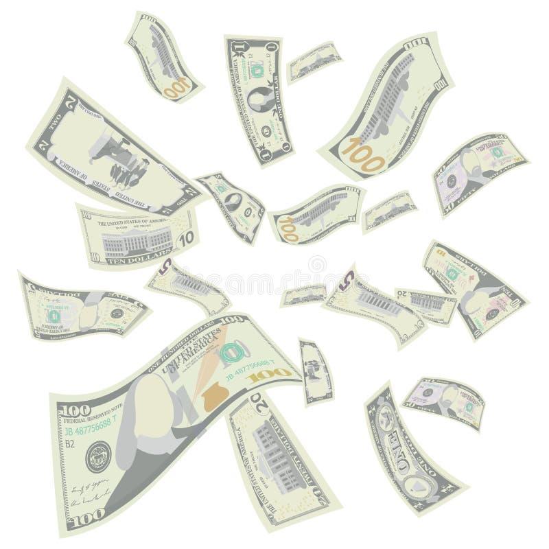 Вектор долларов США летания Детальные падая счеты денег шаржа США Понижаясь финансы каждая деноминация в воздухе иллюстрация вектора