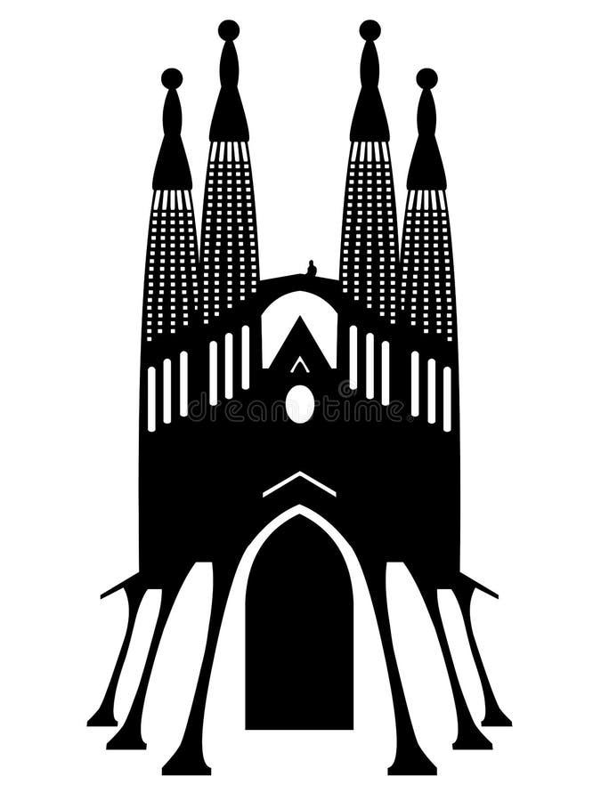 Вектор памятника Sagrada Familia Барселоны на белой предпосылке иллюстрация вектора