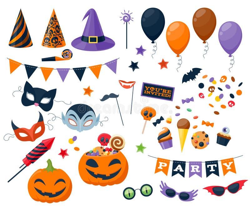 Вектор партии хеллоуина красочными установленный значками иллюстрация вектора