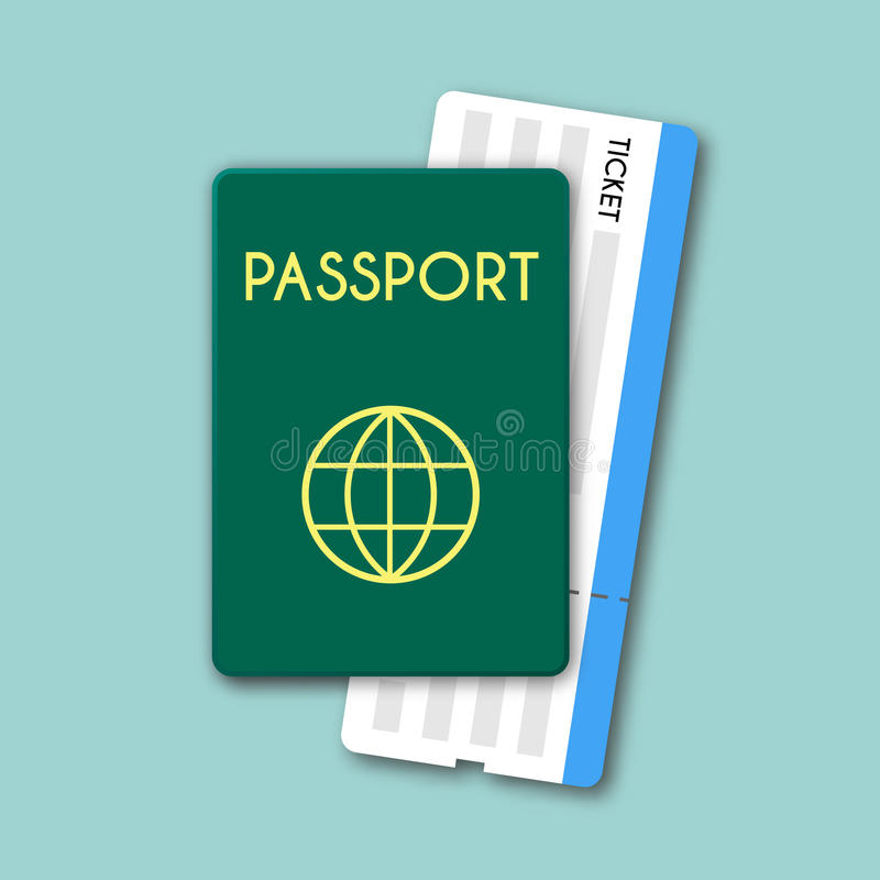 Вектор пасспорта и билетов изолированный взгляд сверху иллюстрация вектора