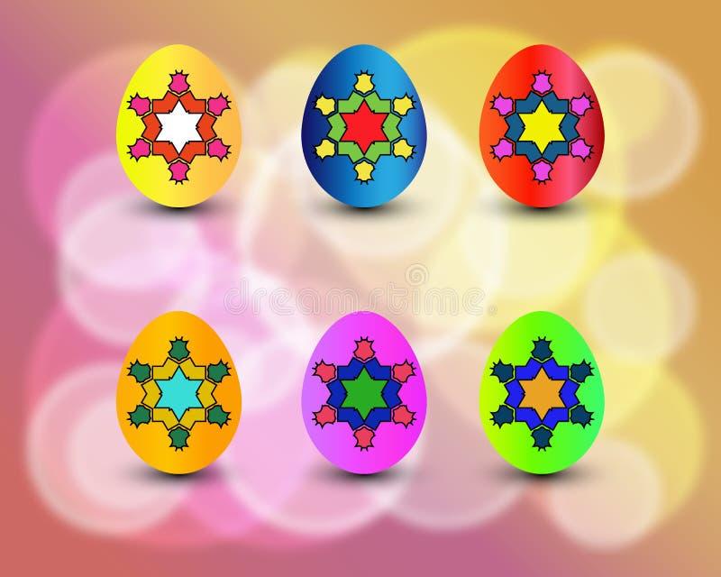 Вектор пасхальных яя установил с цветами и картинами Красочные яичка изолированные на красочной предпосылке для элементов праздни иллюстрация штока
