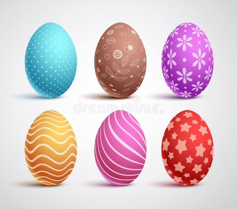 Вектор пасхальных яя установил с цветами и картинами Элементы и украшения иллюстрация штока