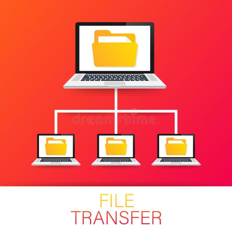 вектор перехода сетки архива ноутбуки с папками на экране и перенесенных документах Файлы экземпляра, обмен данными, FTP также ве иллюстрация вектора