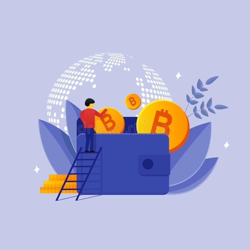 Вектор персоны и бумажника bitcoins иллюстрация штока