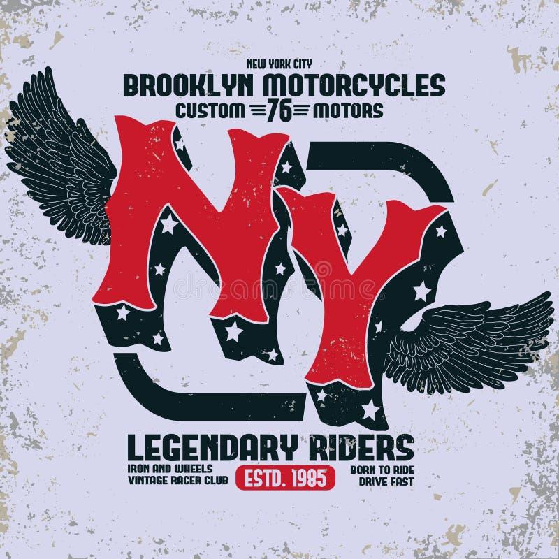 Вектор печати футболки Бруклина мотоцикла бесплатная иллюстрация