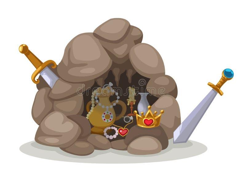 Вектор пещеры сокровища бесплатная иллюстрация