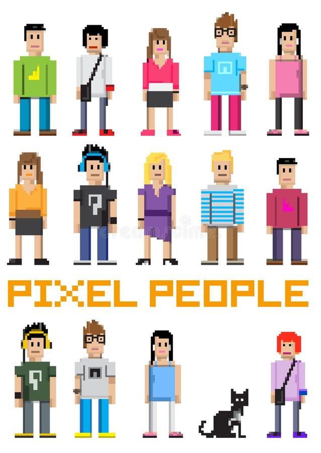 вектор пиксела людей иллюстрация штока