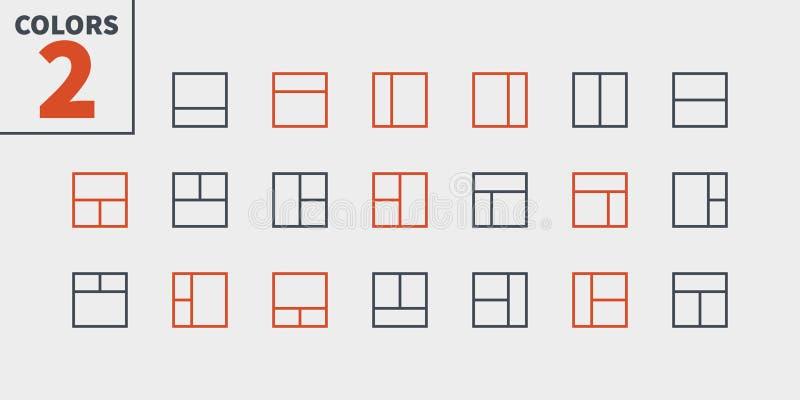 Вектор пиксела плана UI совершенный Хорошо произведенный тонко выравнивает значки 48x48 готовые для решетки 24x24 для графиков се бесплатная иллюстрация