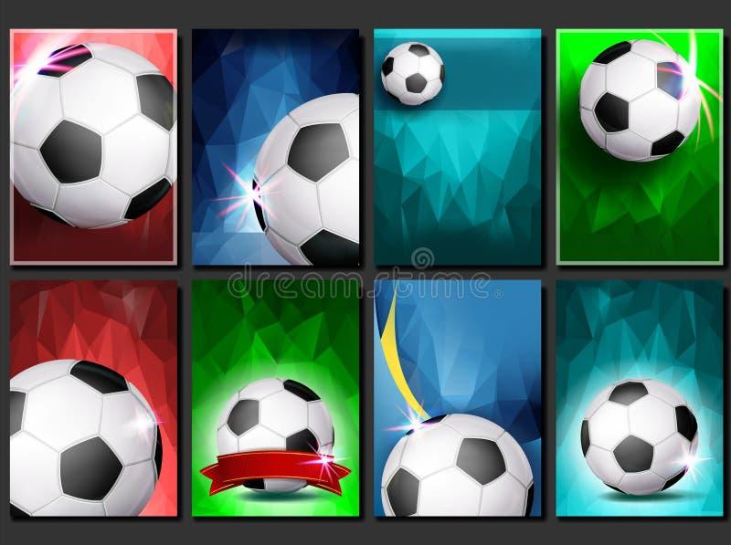 Вектор плаката игры футбола установленный Пустой шаблон для дизайна Современный турнир футбола промотирование спорт футбола футбо иллюстрация штока