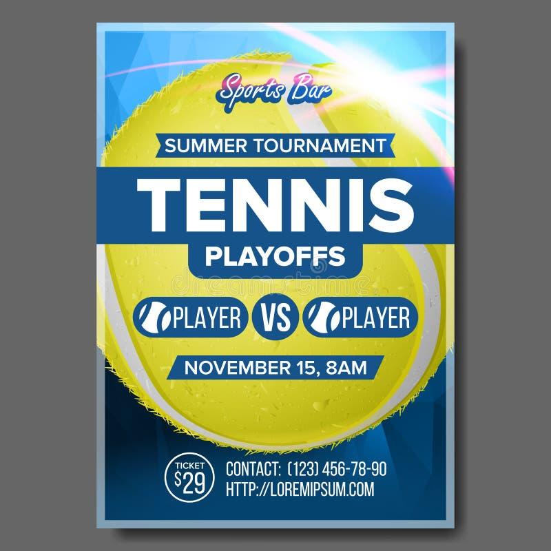 Вектор плаката тенниса Дизайн для продвижения бара спорта Теннисный мяч Размер A4 Современное объявление рогульки чемпионат иллюстрация штока