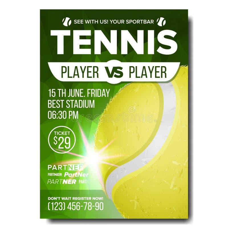 Вектор плаката тенниса Объявление события бара спорт Вертикальная баннерная реклама суд Профессиональная лига Размер A4 иллюстрация вектора
