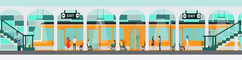 Вектор платформы железнодорожной станции метро с людьми путешествуя или ждать поезд бесплатная иллюстрация
