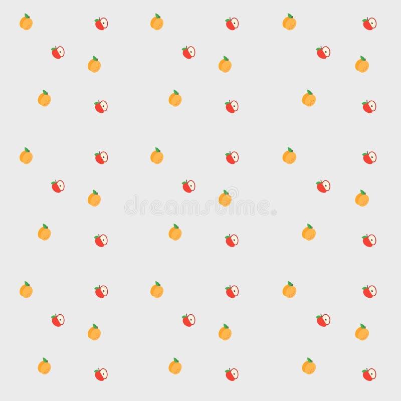 Вектор плодоовощ Персики и яблоки стоковые изображения
