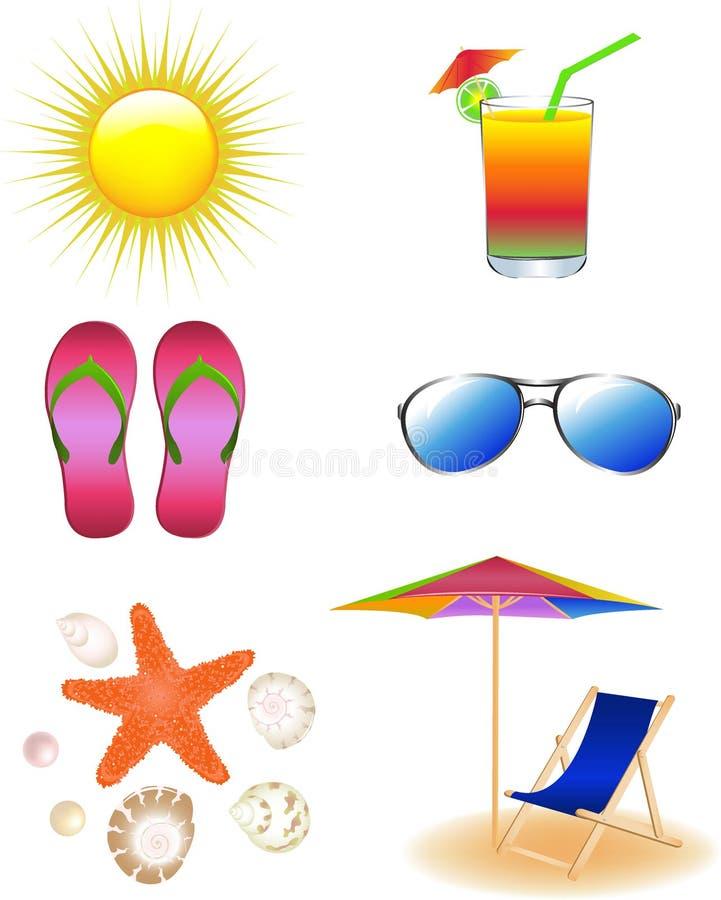 вектор пляжа установленный бесплатная иллюстрация