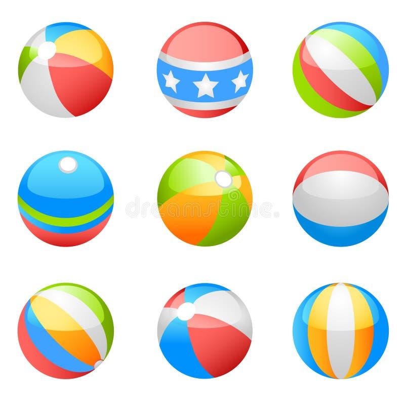 вектор пляжа шарика установленный иллюстрация вектора