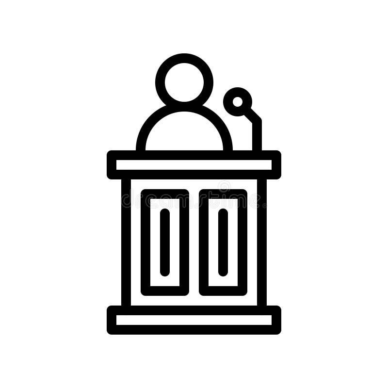 Вектор подиума презентации, значок 'Вернуться к дизайну школьной строк иллюстрация вектора