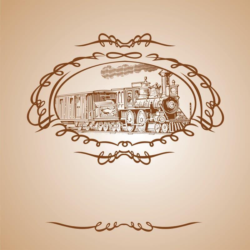 вектор поезда знамени коричневый старый бесплатная иллюстрация