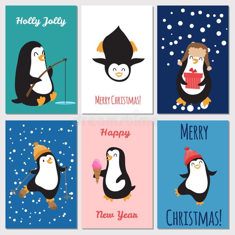 Вектор поздравительных открыток праздников Милые рождественские открытки пингвинов иллюстрация вектора