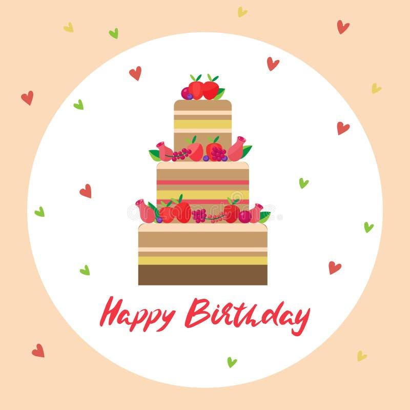 вектор поздравительой открытки ко дню рождения счастливый иллюстрация вектора