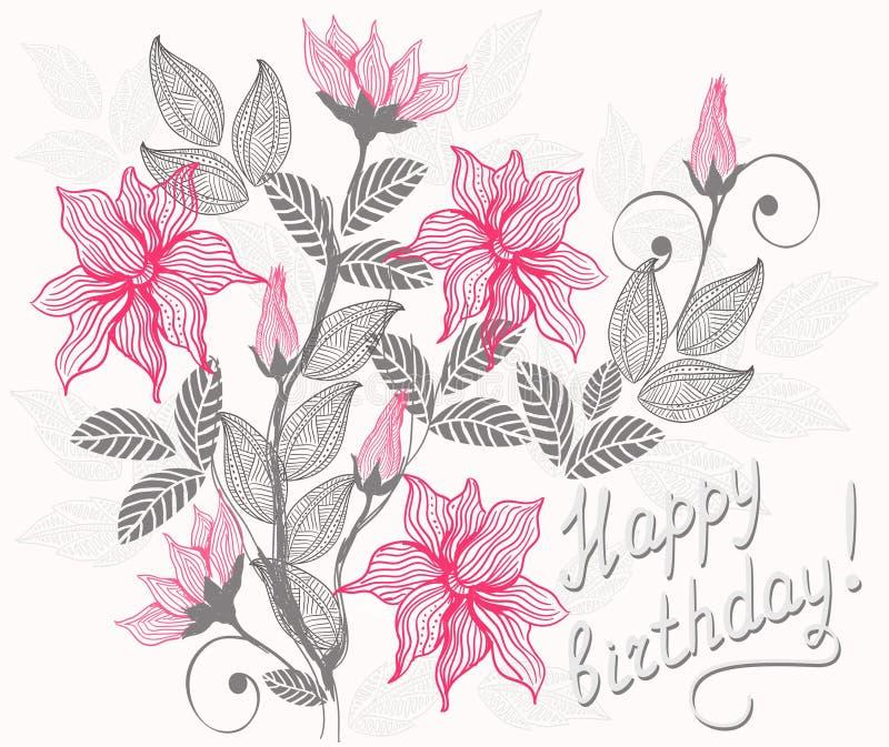 вектор поздравительой открытки ко дню рождения флористический счастливый бесплатная иллюстрация