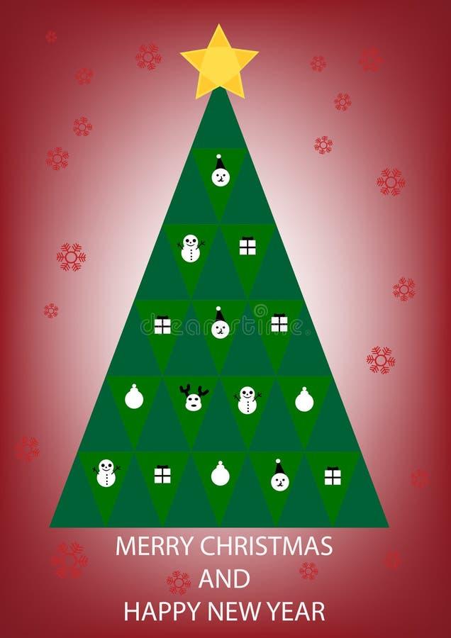 Вектор поздравительной открытки рождественской елки стоковые фотографии rf