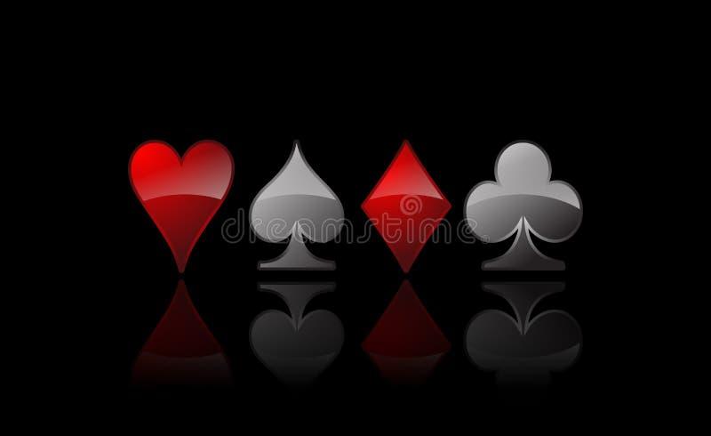 вектор покера икон карточки иллюстрация штока