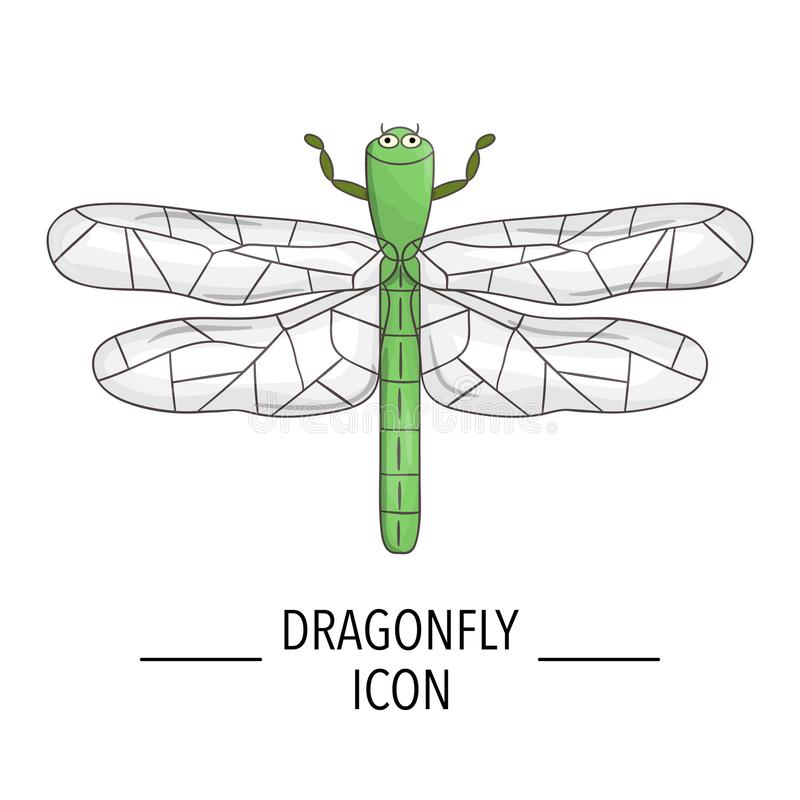 Вектор покрасил значок dragonfly изолированный на белой предпосылке иллюстрация штока