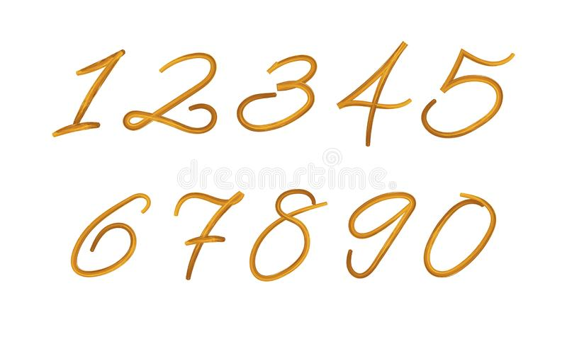 Вектор покрасил номера набор, текстуру краски, ходы щетки изолировал, золотая иллюстрация цвета иллюстрация штока