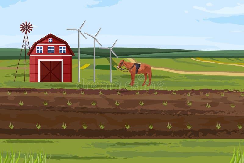 Вектор полей фермы Шаблоны макетов меток Countryside бесплатная иллюстрация