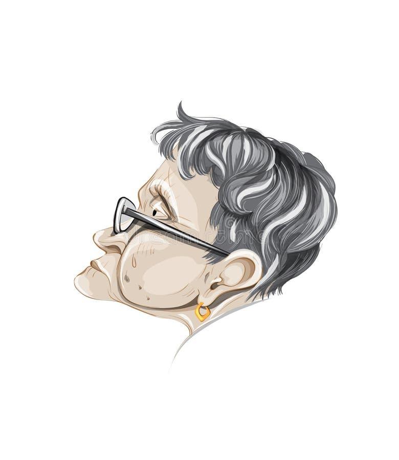 Вектор портрета пожилой женщины Профиль персонажа из мультфильма детализировал иллюстрации иллюстрация вектора