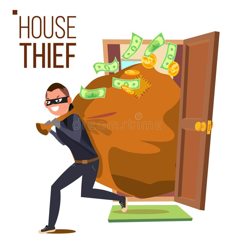 Вектор похитителя и двери Бандит с сумкой Ломать в дом через дверь все типы страхсбора принципиальной схемы Взломщик, разбойник в бесплатная иллюстрация