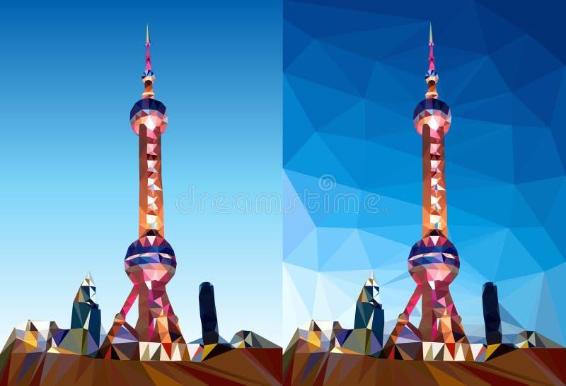 Вектор полигона башни жемчуга Шанхая иллюстрация штока
