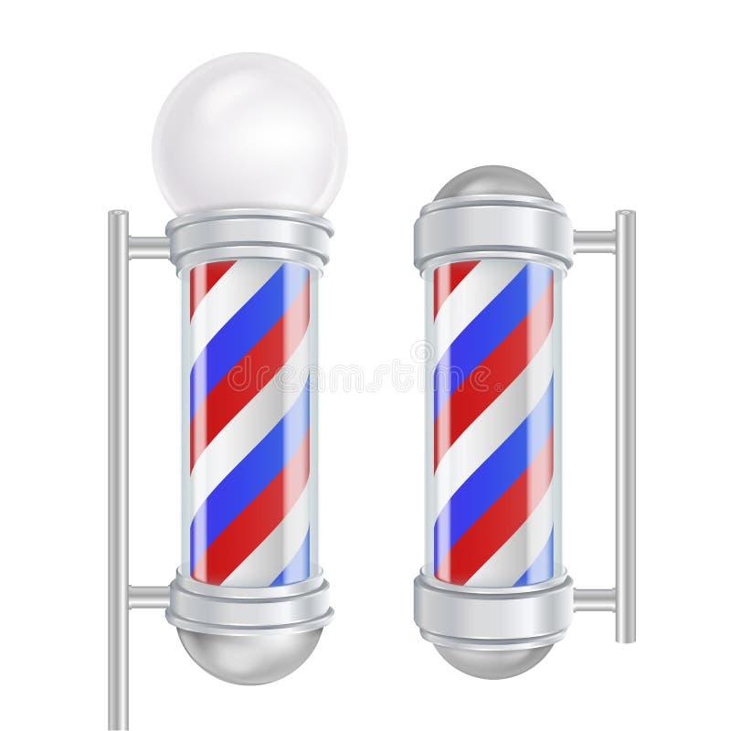 Вектор поляка парикмахерской Красные, голубые, белые нашивки Хороший для дизайна, клеймить, рекламируя изолированная иллюстрация  иллюстрация штока