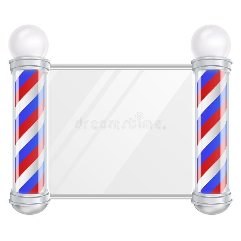 Вектор поляка парикмахерской Старомодный винтажный поляк парикмахерской серебра и стекла Красные, голубые, белые нашивки изолиров бесплатная иллюстрация