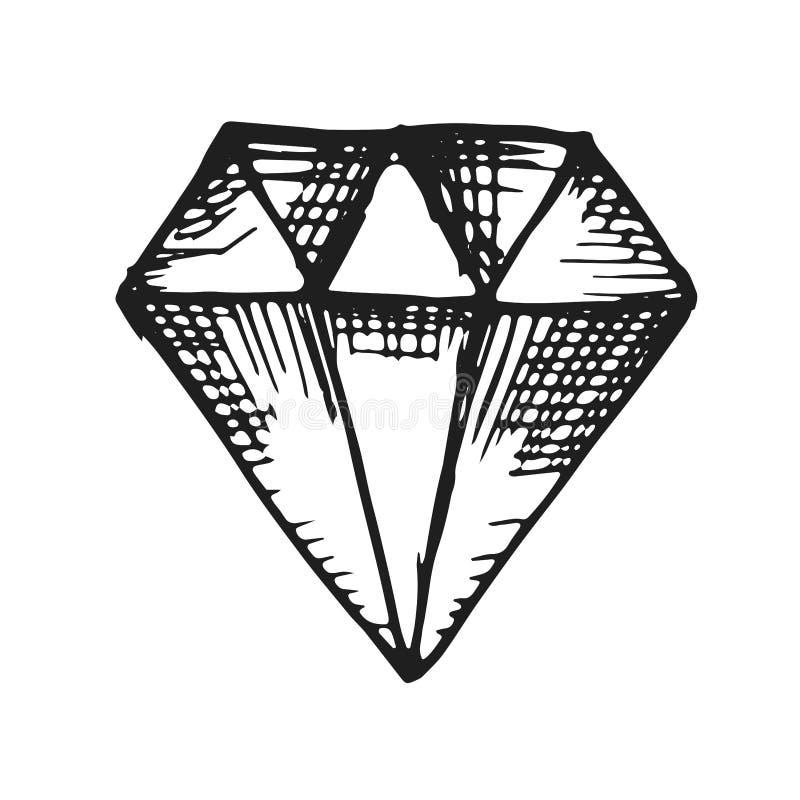 Вектор предпосылки значка диаманта черным по белому иллюстрация вектора