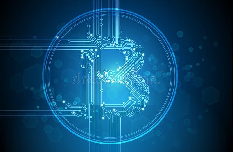 Вектор предпосылки конспекта дела Bitcoin голубой иллюстрация штока