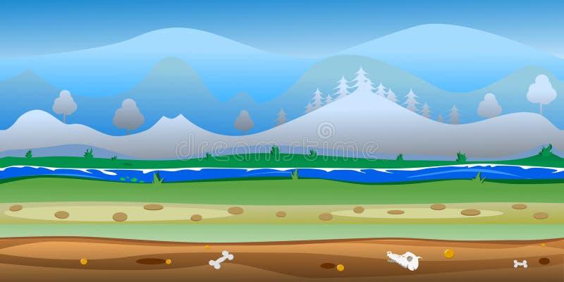 Вектор предпосылки леса игры безшовный иллюстрация вектора