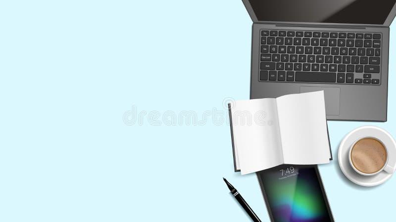 Вектор предпосылки стола офиса взгляд сверху Таблица места службы Компьтер-книжка, компьютер, клавиатура, кофейная чашка, Smartph иллюстрация штока