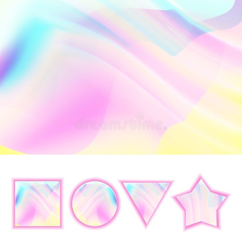 Вектор предпосылки Girlie Фон Girlie конспекта голографический пастельный Цвет радуги мягкий иллюстрация иллюстрация штока