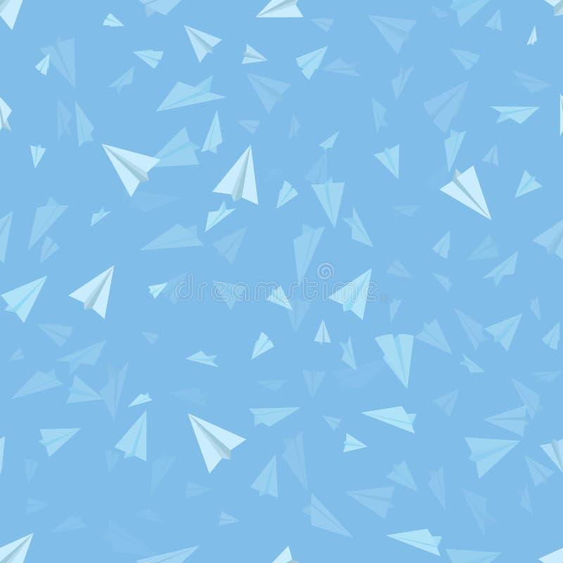 вектор предпосылки голубой безшовный Картина бумажных самолетов на небесно-голубой предпосылке иллюстрация вектора