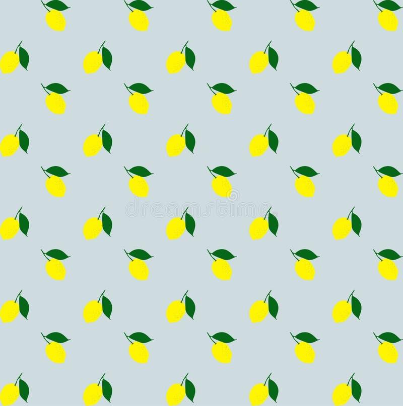 Вектор предпосылки картины желтых лимонов шаржа безшовный картина лимона безшовная Желтый цитрус красочная картина лимонов иллюстрация вектора