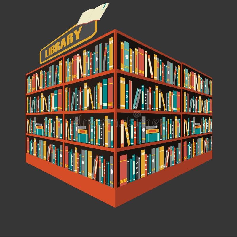 Вектор предпосылки книжной полки библиотеки иллюстрация вектора