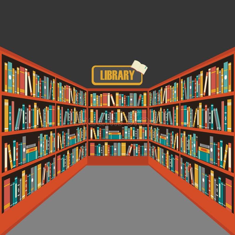 Вектор предпосылки книжной полки библиотеки бесплатная иллюстрация
