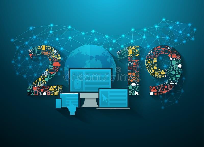 Вектор применение технологии нововведения дела 2019 Новых Годов установленное иллюстрация штока
