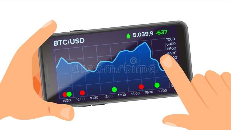 Вектор применения Bitcoin удерживание руки банка предпосылки замечает smartphone Bitcoin App с диаграммой, тенденцией, диаграммой иллюстрация вектора
