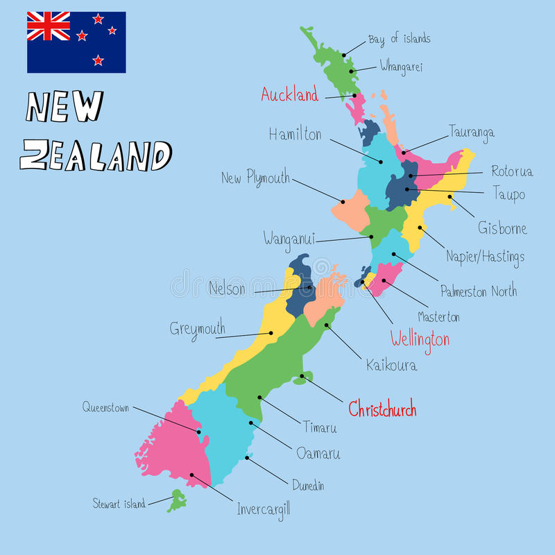 Вектор притяжки руки карты Новой Зеландии иллюстрация штока