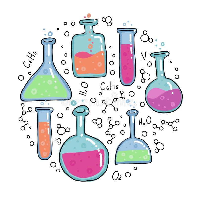 Вектор пробирок химии конспектировал эскиз вокруг иллюстрации образования и науки концепции в тонкой линии стиле doodle цвета r иллюстрация вектора