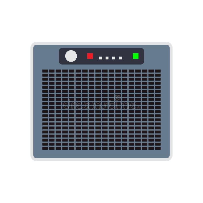 Вектор проводника вентилятора воздуха индустрии испарительного охладителя Вид спереди значка конденсатора блока компрессора силы иллюстрация вектора