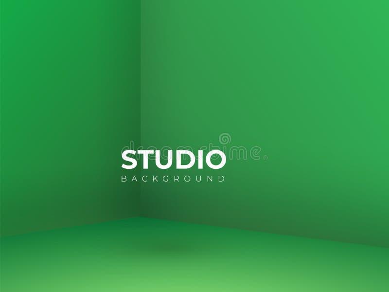 Вектор, пустая яркая освещая зеленая предпосылка комнаты студии, насмешка шаблона вверх для дисплея или монтаж продукта, фона дел иллюстрация вектора